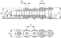 Válečkový řetěz IWIS 1-řadý DIN 8187  - 2