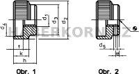 Rýhovaná matice DIN 6303  - 2
