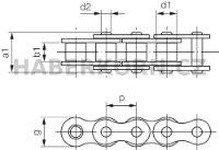 Válečkový řetěz standardní 1-řadý DIN 8187  - 2