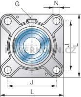 Přírubová ložisková jednotka SNR série UCF litinová čtvercová, 4-díry  - 2