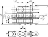 Válečkový řetěz IWIS 3-řadý DIN 8187  - 2