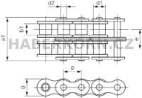 Válečkový řetěz standardní 2-řadý DIN 8187  - 2