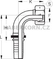 Hydraulické koncovky metrické DKL-90  - 2