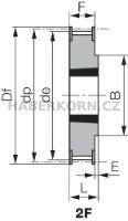Ozubená remenica Poly Chain GT 8M (rozstup 8,0 mm) s predvŕtaným otvorom a pre Taper Lock  - 3