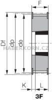Ozubená remenica Poly Chain GT 8M (rozstup 8,0 mm) s predvŕtaným otvorom a pre Taper Lock  - 5