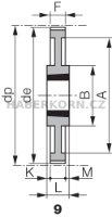 Ozubená remenica Poly Chain GT 8M (rozstup 8,0 mm) s predvŕtaným otvorom a pre Taper Lock  - 6