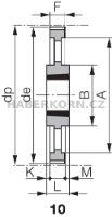 Ozubená remenica Poly Chain GT 8M (rozstup 8,0 mm) s predvŕtaným otvorom a pre Taper Lock  - 7